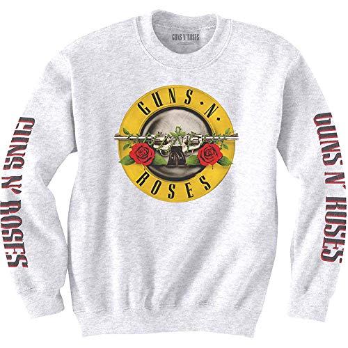 Guns N Roses Felpa Classic Band Logo Nuovo Ufficiale Bianca Unisex Size S