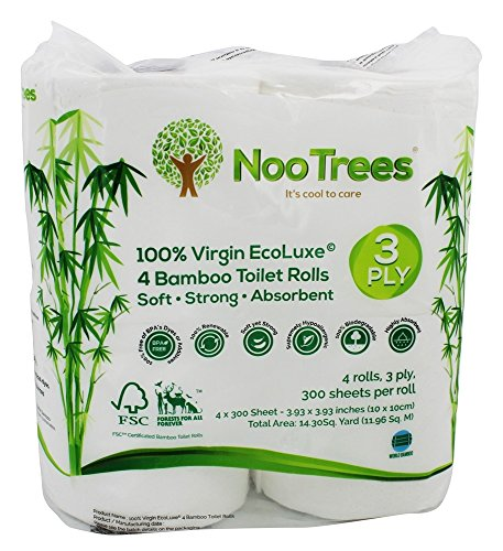 NooTrees Bamboo 3-ply Bathroom Tissue, 300 Sheets, 4 Rolls, Ecofriendly,100 Percent Biodegradable & Sustainable, Hypoallergenic, Ultra Absorbent Velvety Soft, FSC Certified
