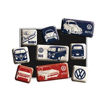 Nostalgic Art Retro-Style Fridge Magnets, VW Bulli T1 Original – Gift idea for Volkswagen fans, Magnet set for notice board, vintage design, 9 pieces