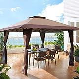 PHI VILLA 13'x13' UV Block Sun Shade Gazebo Canopy with Hardware Kits, Gazebo Shade for Patio Outdoor Garden Events, Brown