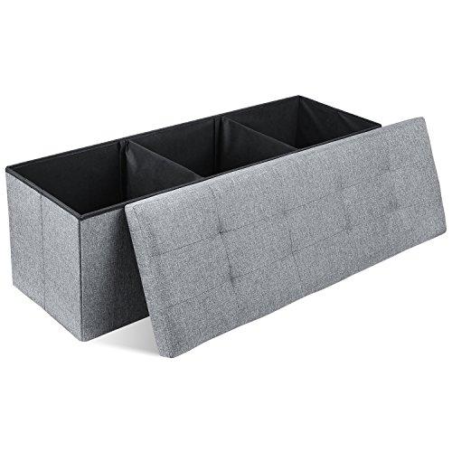 Homfa Sitzbank mit Stauraum 110x38x38cm Sitzhocker Bank Truhe mit Deckel Fußablage