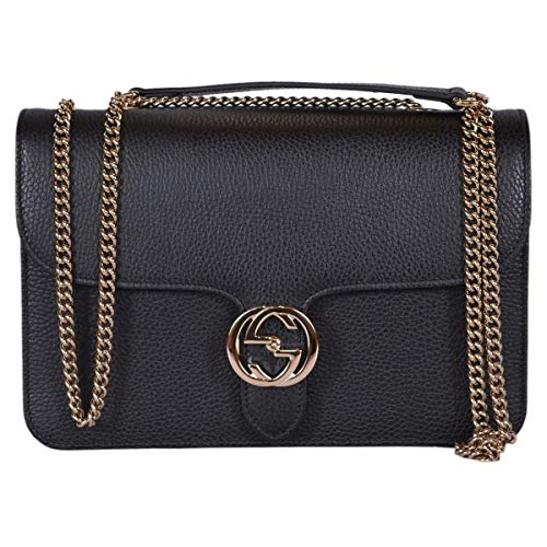 """51tXRL9KsVL Black Leather style Black Calf Leather Golden Interlocking GG Hardware Golden Chain and Leather Crossbody Strap with a 22"""" Drop Flap Close with Interlocking GG Snap Interior Open Pocket Fully Lined Measures 7.75"""" x 6"""" x 3"""" Made in Italy Interior """"Gucci"""" Leather Tab Interior Serial Number Condition: New with Tags Made in Italy"""