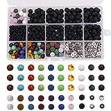 Yofuly 514 Perles de Pierre de Lave Assorties de Perles de Chakra colorées...