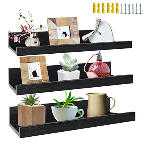 16 Inch Black Floating Shelves Set of 3, Picture Ledge Wall Mount Shelf for Bedroom, Living Room, Office, Kitchen