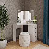Victory Corner Vanity Table White Makeup Desk with Three-Fold Mirrors and 4 Drawers Bedroom Dressing Table