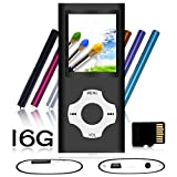 Tomameri - Portable MP3 / MP4 Player with Rhombic Button, Including a 16 GB Micro SD Card and Support Up to 64GB, Compact Music, Video Player, Photo Viewer Supported -Black-with-White