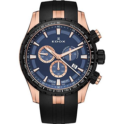 Edox Grand Ocean Herren-Armbanduhr 45mm Armband Kautschuk Gehäuse Edelstahl Batterie 10226 37RNCA BUIR