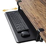 HUANUO Keyboard and Mouse Tray, 2020 Upgraded Ergonomic Clamp On Under Desk Mount Slide Tray, Super Large Desktop Extender Workstation Platform, Increase Comfort and Desk Space