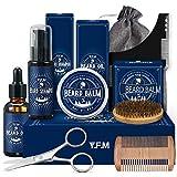 Y.F.M Kit Barba Cuidado para Hombre 9 en 1, Champu Barba, Peine, Cepillo Barba, Aceite, Balsamo,...