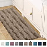 Bath Rug Runner 47' x 17' Bathroom Rug Bath Mat Non-Slip Striped Luxury Chenille Large Bathroom Rug Mat Extra Soft and Absorbent Shaggy Rugs for Indoor Floor Machine Washable, Taupe Brown