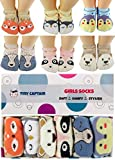 Baby Toddler Girls Grip Socks - Anti Slip 1 Year Old Girls Gift Cartoon 1-3 Yr Old Strap Non Skid Cotton Sock From Tiny Captain (Pink, Blue, Grey, Tan)