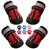 QUMY Dog Boots Waterproof Shoes for Large Dogs with Reflective Straps Rugged...