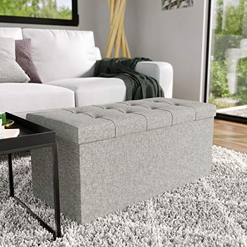 Everlane Home RectangleFoldable Storage Ottoman withButtonlessSquare Tufting, Grey
