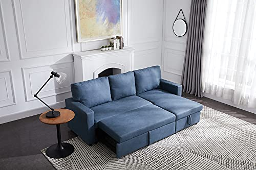 Tmosi Reversible Sleeper Sectional Sofa with Pull-Out Couch Sleeper, Corner Sofas Bed with Storage Chaise, Living Room Furniture Set (Blue)
