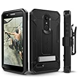 Evocel LG K30 / LG Premier Pro/LG Harmony 2 Case, Heavy Duty Protection with Glass Screen Protector, Rugged Holster, and Kickstand, Explorer Series Pro – Black