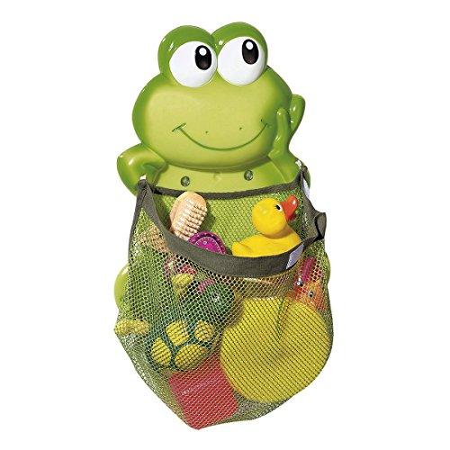 babywalz Aufräumnetz Frosch -Aufbewahrungs-Netz für Badespielzeug -größenverstellbar durch Klettverschluss - extra starke Saugnäpfe - grün
