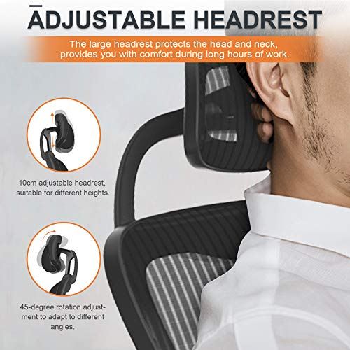 Product Image 3: Komene Home Office Chair - Ergonomic Desk Chair high Back Mesh Computer Chair with Lumbar Support & with Headrest, Thick Seat Cushion Recline Chair Swivel Task Chair