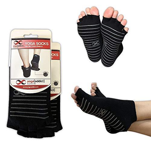 YogaAddict Toeless Calzini Yoga, Pilates, Danza, Sbarra, a Mezze Dita con manopole, Antiscivolo Antiscivolo, Black (Grey Grippy Lines) - 2 Pairs, M/L