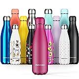 PROWORKS Bottiglia Acqua in Acciaio Inox, Senza BPA Vuoto Isolato Borraccia Termica in Metallo per Bevande Calde per 12 Ore & Fredde 24 Ore, Borraccia per Sport e Palestra - 500ml - UVA