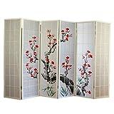 PEGANE Paravent Japonais Fleur de Cerisier en Bois Blanc de 6 pans, L264 x...