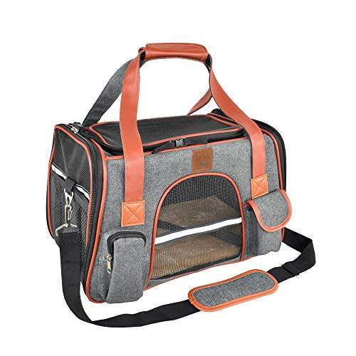 Purrpy Pet Carrier for Cats and Small Dogs Airline Approved Soft Sided Carrier,Ventilated Pet Travel Carrier,Car Seat Safe Carrier