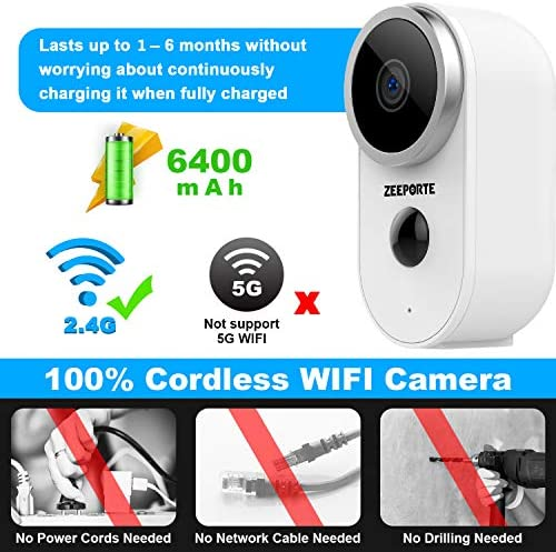 Security Camera Outdoor, 1080P HD Wireless Rechargeable Battery Powered WiFi Home Surveillance Camera with Waterproof, Night Vision, Motion Detection, 2-Way Audio and SD Storage 16