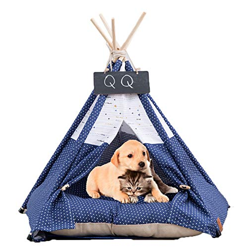 Arkmiido Tienda para Mascotas con Cama, Casa de Lona para Perros y Gatos, Tipi para Mascotas con Cojín de, Bajo Techo, en Exteriors. (Azul)