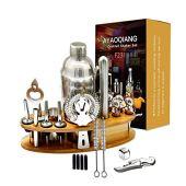 AYAOQIANG Set Cocktail 23 Pezzi, Shaker Cocktail Kit Da Barman Professionale In Acciaio Inox, 750ml Shaker, Cocktail set Con di legno Supporto, Per Casa E Bar