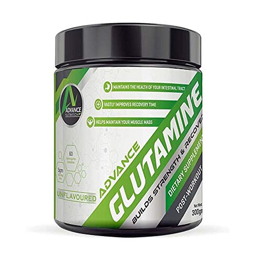 ADVANCE NUTRATECH Unflavoured Glutamine Supplement Powder 60 Servings Shaker, White, Unflavored, 300...