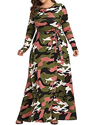Long sleeve, plus size, round neckline, with a waistband, floor length, camo printed, Camouflage Printed for Military thematic enthusiasts, for a party or club, you will be the most eye-catching one Material: 95% polyester +5% spandex, good elasticit...