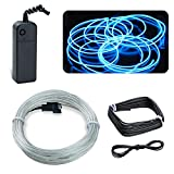 EL Wire Lychee 10ft Neon Glowing Strobing Electroluminescent Light Neon Wire Battery Pack for Parties Burning Man Event Halloween Christmas Xmas Decoration (Ice Blue)