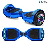TPS 6.5' Hoverboard Electric Self Balancing Scooter with Wireless Speaker and LED Lights for Kids and Adults - UL2272 Safety Certified (Chrome Blue)