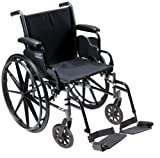 Drive Medical Cruiser III Light Weight Wheelchair with Various Flip Back Arm Styles and Front Rigging Options, Flip Back Removable Desk Arms/Swing Away Footrests, Black, 18 Inch