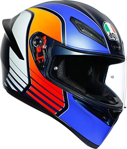 AGV(エージーブイ) バイクヘルメット フルフェイス K1 POWER MATT DARK BLUE/ORANGE/WH (パワーマットダーク ブルー/オレンジ/ホワイト) S (55-56cm) 028192IY008-S