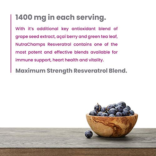 Resveratrol Supplement - Extra Strength 1400mg Formula for Healthy Aging, Immune Support & Heart Health - 60 Vegan Capsules with Trans-Resveratrol, Green Tea Leaf, Acai Berry & Grape Seed Extract 7
