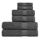 SweetNeedle - Lot de 6 serviettes à usage quotidien, Charbon-2 serviettes de bain...