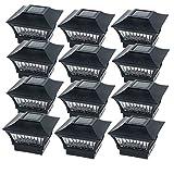 GreenLighting Black Aluminum Solar Post Cap Light - 4x4 Wood/5x5 PVC (12 Pack)