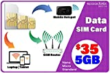 4G LTE Data Only SIM Card – USA Nationwide Domestic and International Roaming – Choose from 1GB 2GB 3GB – 30 Days No Contract Service (5 GB)