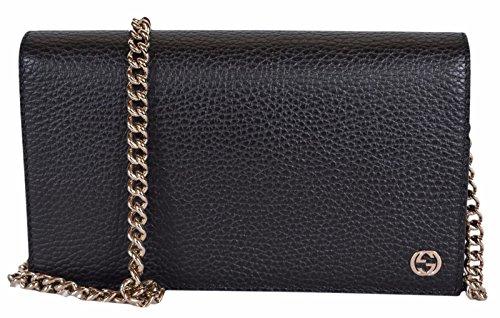 51tumiw0T2L Black leather, Snap closure, Detachable Strap Small interlocking GG emblem with light gold hardware Measurements: 7.5 L x 4.5 H x 1 D inches, Shoulder strap drop: 23.5 inches
