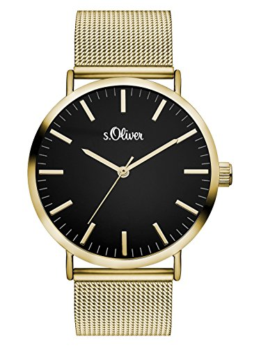 s.Oliver Damen Analog Quarz Armbanduhr mit Edelstahlarmband SO-3326-MQ