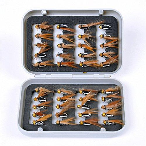 JasCherry 40 Pezzi Esche Pesca a Mosca Artificiali Esche con Scatola Impermeabile, Perfette per la Pesca Pesce Persico Trota Merluzzo Accessori per la Pesca