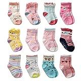 12 Paires Non Pelucheux de Chaussettes de Fille d'Enfant en Bas âge Coton Mignon Avec des Poignées, Chaussettes Anti-dérapantes de Filles de Bébé (12 paires, 6-12 mois)