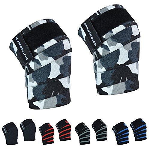GYMGEARS® Kniebandage (2er Set mit Klettverschluss) Knee Wraps 200cm - Profi Knie Bandagen für Kraftsport, Bodybuilding, Powerlifting, Crossfit & Fitness - Für Frauen & Männer geeignet