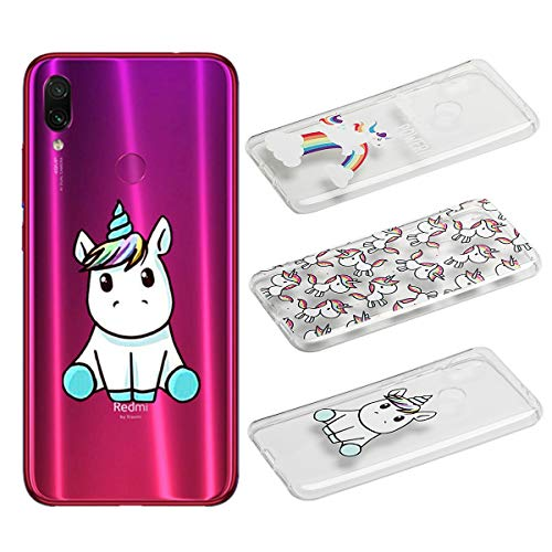 [3 Pack] Funda para Xiaomi Redmi 7, Weideworld 3D Patrón Flexible Ultra Slim TPU Silicona Back Carcasa Funda para Xiaomi Redmi 7, Unicornio