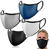 4 verschiedenfarbige Masken aus Baumwolle: Premium Behelfs-Mundschutz waschbar I Baumwoll-Masken wiederverwendbar I Masken Mundschutz schwarz waschbar I Face Mask Washable I Masken Stoff I Mundschutz