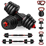 PINROYAL 4 in 1 Adjustable Dumbbell Set, 66LB Free Weights Dumbbells Set with Connecting Rod Used as Barbell, Non-Slip Handles & Base for Kettlebells, Push up, Weight Set for Home Gym for Men Women