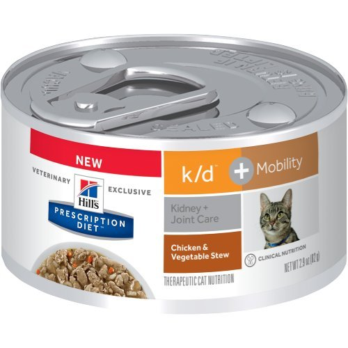 Hill's Prescription Diet k/d + Mobility Feline Chicken & Vegetable Stew Canned Cat Food 24/2.9 oz