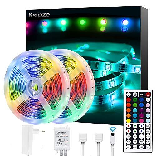 Ksipze Striscia LED 10M RGB LED Colorati Luci Led Light Strip con 44 Tasti telecomando Luminosit Regolabile Nastri Led Retroilluminazione per TV Camera Cucina Sottopensile Decorazione2pcsX5m