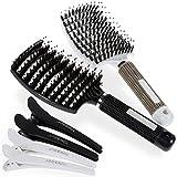 Lictin 2 Brosse à Cheveux en Poils de Sanglier Anti-Nœud & 4 Epingles à Cheveux (Noir et Blanc)