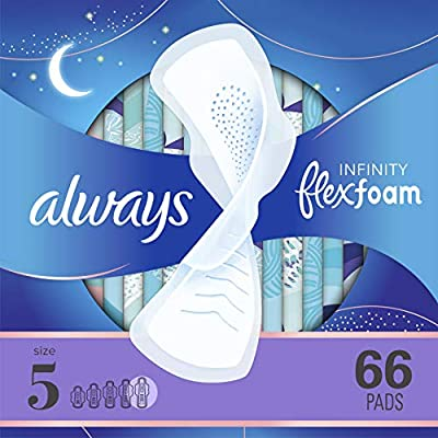 Up to Zero Leaks, Zero Feel 60% larger back vs. Infinity Regular Flow Features thin & flexible FlexFoam Technology that absorbs 10x its weight Super absorbent holes ensure you stay clean and dry overnight Dry, breathable top layer Form-fitting groove...